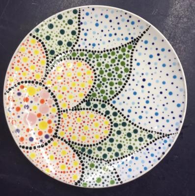 Zoom Art Class: Dot Mandala Coupe Salad Plate- July 14th