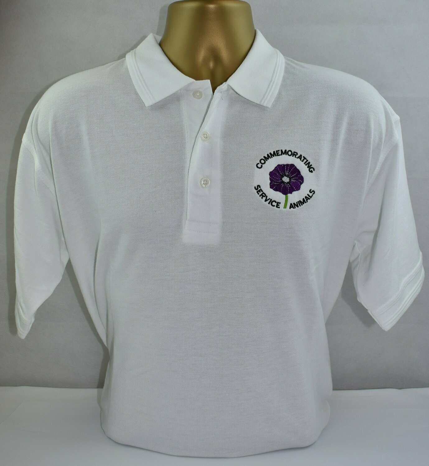 Polo Shirt - Purple Poppy  (White L)