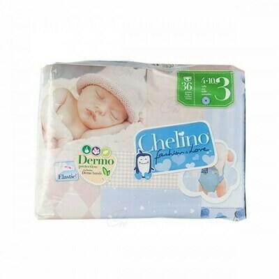 PAÑAL INFANTIL CHELINO FASHION  LOVE T- 3 (4 - 10 KG) 36 PAÑALES