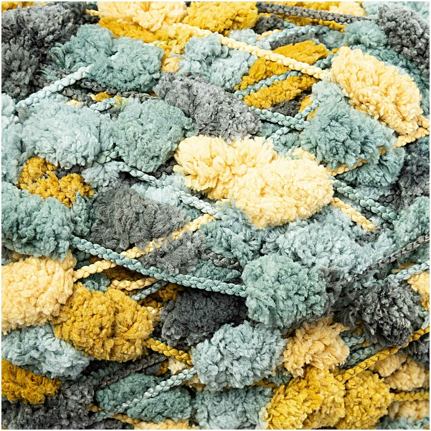 Rico Pompon - Teal and Mustard