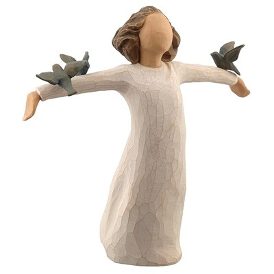 Happiness - Girl with arms out holding  blue birds