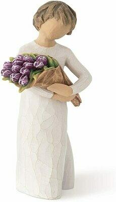Surprise - Child Holding Bouquet of Purple Tulips