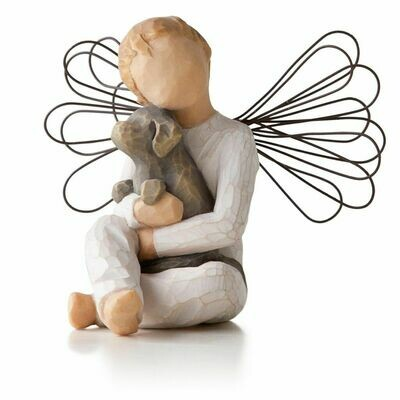 Angel of Comfort - Sitting Holding Puppy Dog - Wire Wings