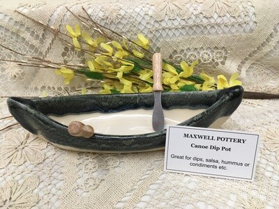 Canoe Dip Pot - Granite - Maxwell Pottery - Canadian Handmade