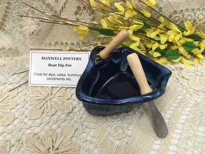 Boat Dip Pot - Northern Lights Blue - Maxwell Pottery - Handcrafted Canadian