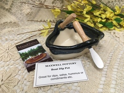 Boat Dip Pot - Granite - Maxwell Pottery - Handcrafted Canadian