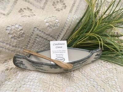 Small Canoe with paddle, Birch Bark - Pavlo Pottery - Canadian Handmade