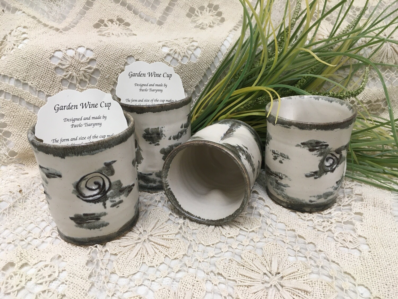 Garden Wine Cup, Birch Bark - Pavlo Pottery - Canadian Handmade