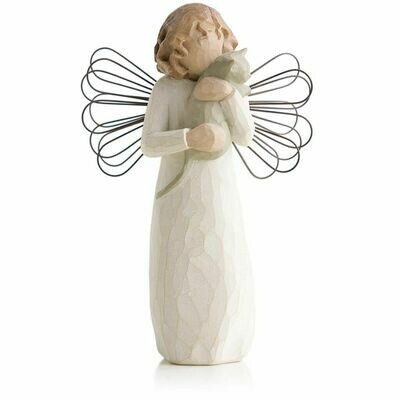 With Affection - Angel Standing Holding Cat - Wire Wings