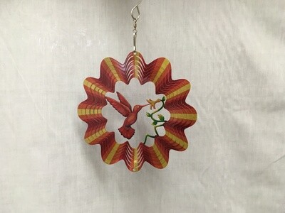 Hummingbird Red/Yellow Small  - Cut out design Wind Spinner