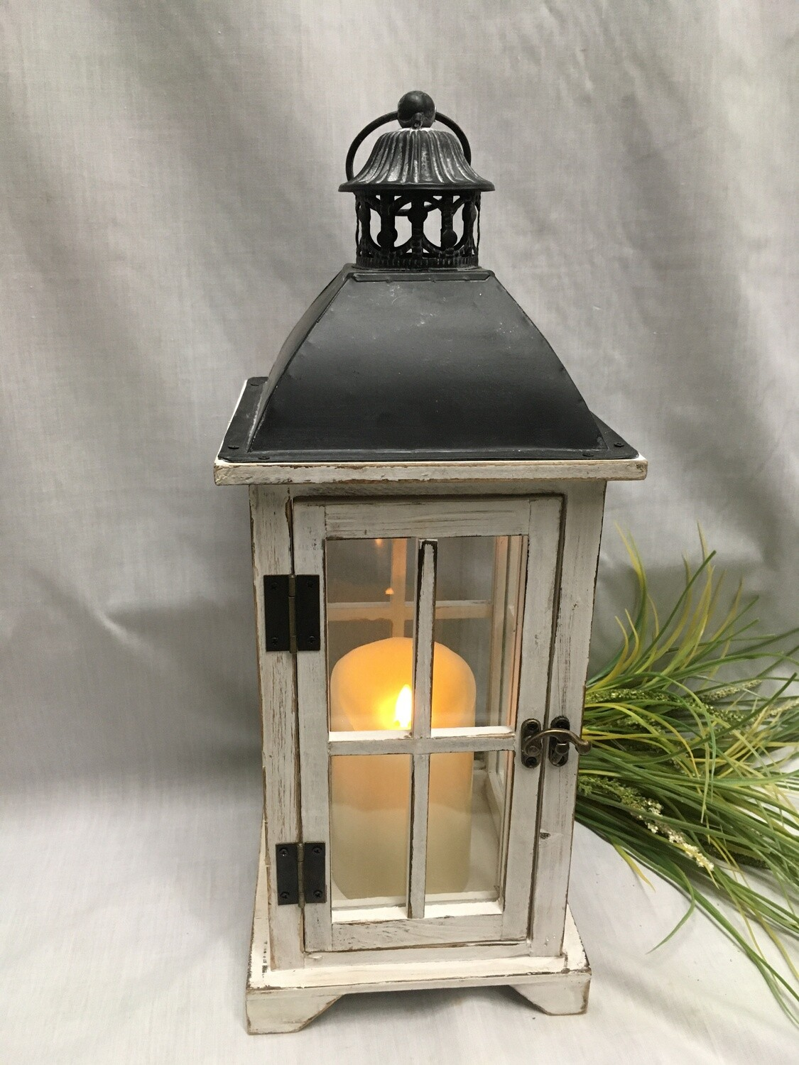 """White Antiqued Decorative Lantern - 18"""" - Wood and Metal with Glass - shown with candle (sold separately)"""