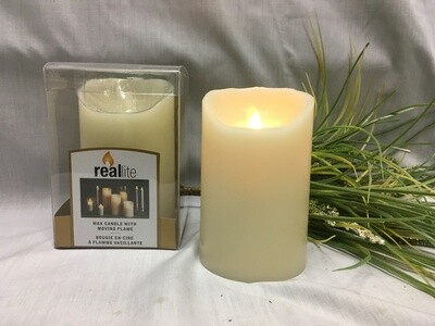 Ivory - Reallite Flameless Pillar Candle with Timer - 3x5 inches - moving flame