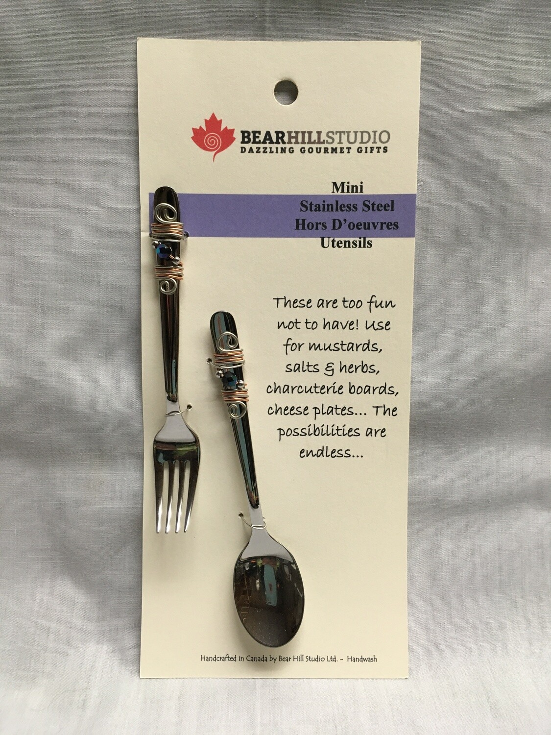 Mini Hors D'oeuvres Utensil Set - Fork and Spoon - Canadian Handcrafted