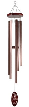 "Chime - 44"" - Bronze Tube/Dark Wood/Butterfly Design"