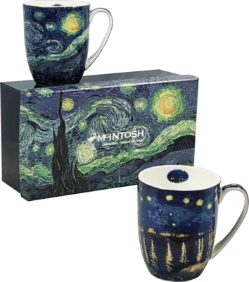 Van Gogh - Starry Nights - Set of Two Fine Bone China Mugs in Collector Box