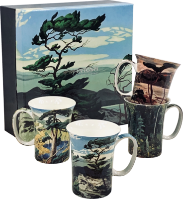 Group of Seven Art Work - Canadian Artists - Set of Four Fine Bone China Mugs in Collector Box