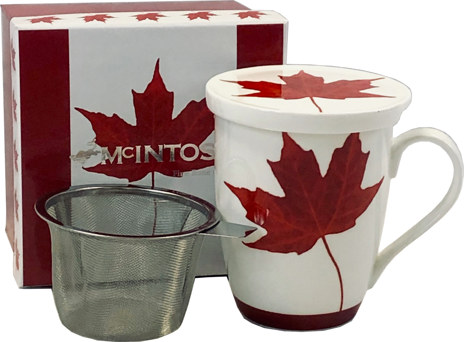 Memories of Canada - White with Red Maple Leaf - Single Fine Bone China Tea Mug/Cup in Collector Box - with Lid and Strainer