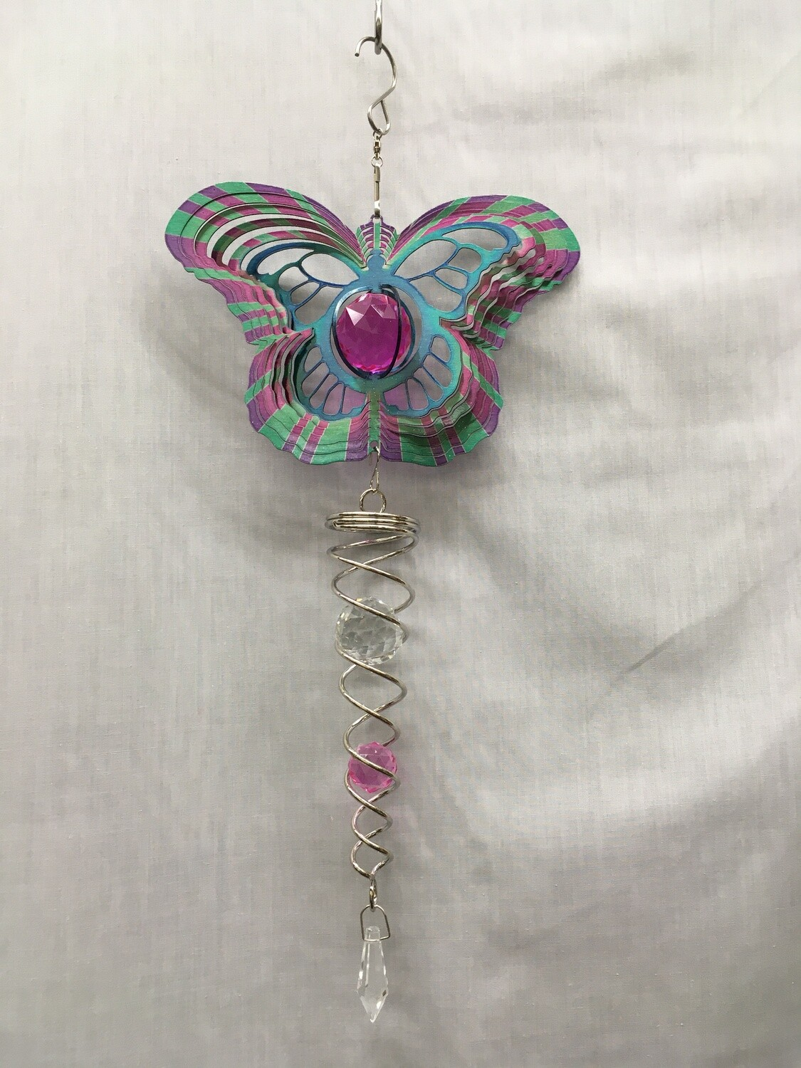 Spinner Set - Butterfly Shape Blue/Purple Wind Spinner with Twister Spiral double crystal tail