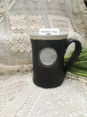 Medallion Large Mug, Loon, Black & White - Pavlo Pottery - Canadian Handmade