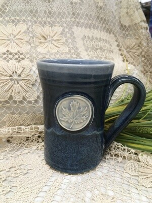 Medallion Large Mug, Maple Leaf, Ocean Blue - Pavlo Pottery - Canadian Handmade