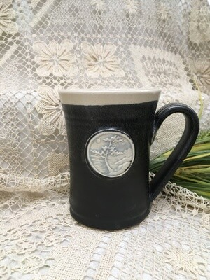 Medallion Large Mug, Windswept Tree, Black & White - Pavlo Pottery - Canadian Handmade