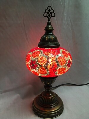 Mosaic Glass Table Lamp - Large, Red Pinwheel
