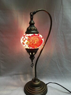Mosaic Glass Table Lamp, Red Circles