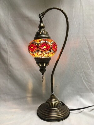 Mosaic Glass Table Lamp, Orange Diamonds