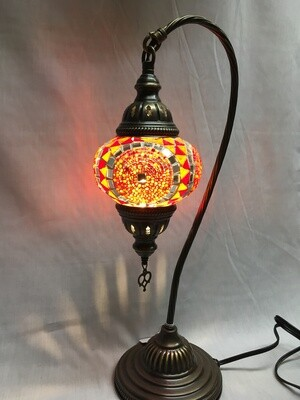 Mosaic Glass Table Lamp, Orange and Red Circles