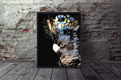 Black / Blu Cockatoo Print