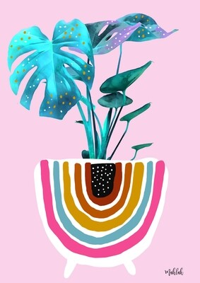 Monstera (pink) Print