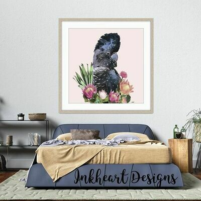 Flower  Cockatoo  Print