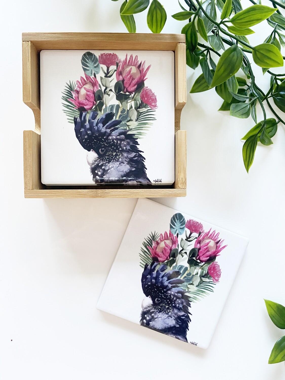 Cockatoo Flower set of 4 coasters