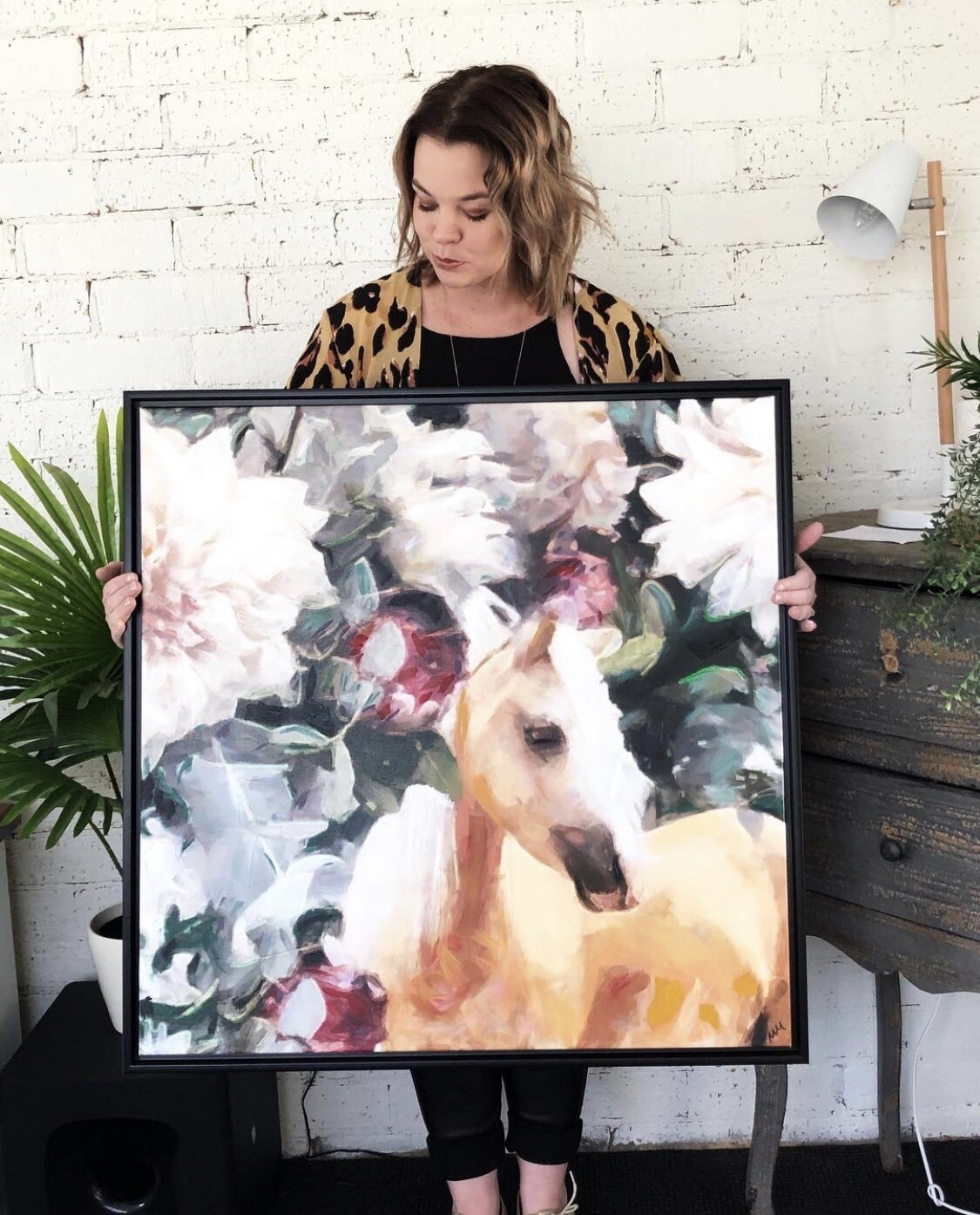 Horse flower-  Oil Embellished Limited Edition Canvas - 1 Of 1