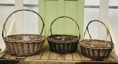 Round Stained Willow W/Handle and Liner-SML