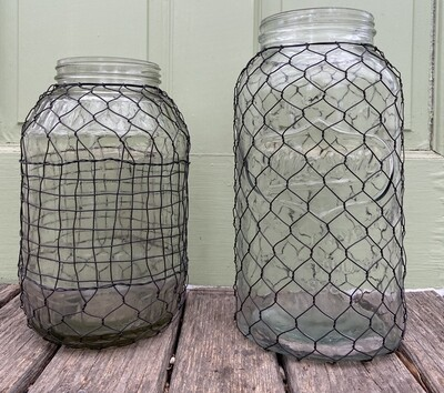 Primitive Wire-Covered XL Dill Pickle Jar