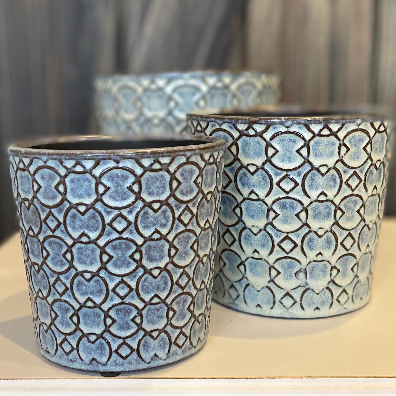 Ceramic Nesting Pots - Set of 3 Blue/Grey