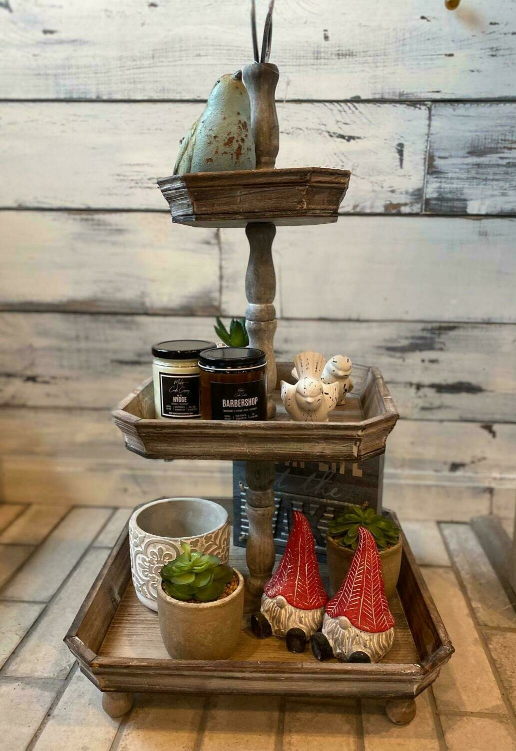 3 tier wood square tray