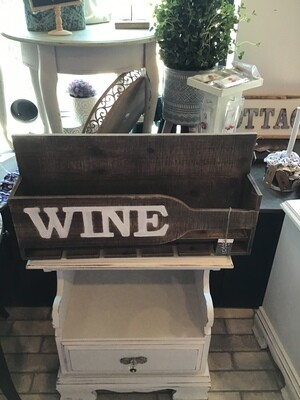 Wooden wine bottle and glass holder