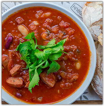 Chorizo and Bean Soup for 2