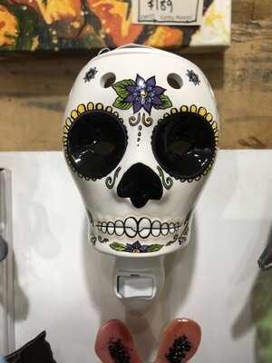 Ceramic Sugar Skull Nite Light