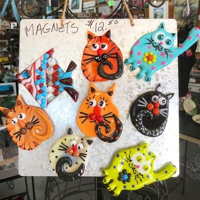 Glass Fusion Cat Magnets