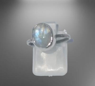 Sterling Silver Natural Regnbåga Månsten ring .