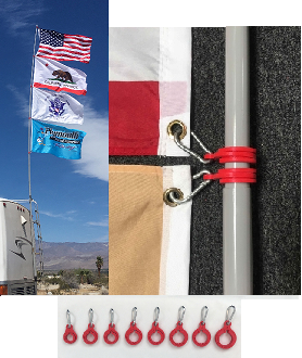 (BETA) (8) Ring Set to fly (4) Flags on 16 & 22 Fiberglass Poles