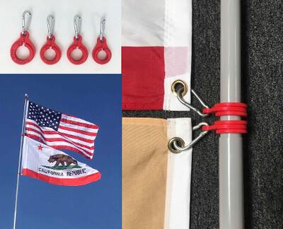 (BETA) (4) Ring Set to fly (2) Flags on 16' & 22' Fiberglass Poles
