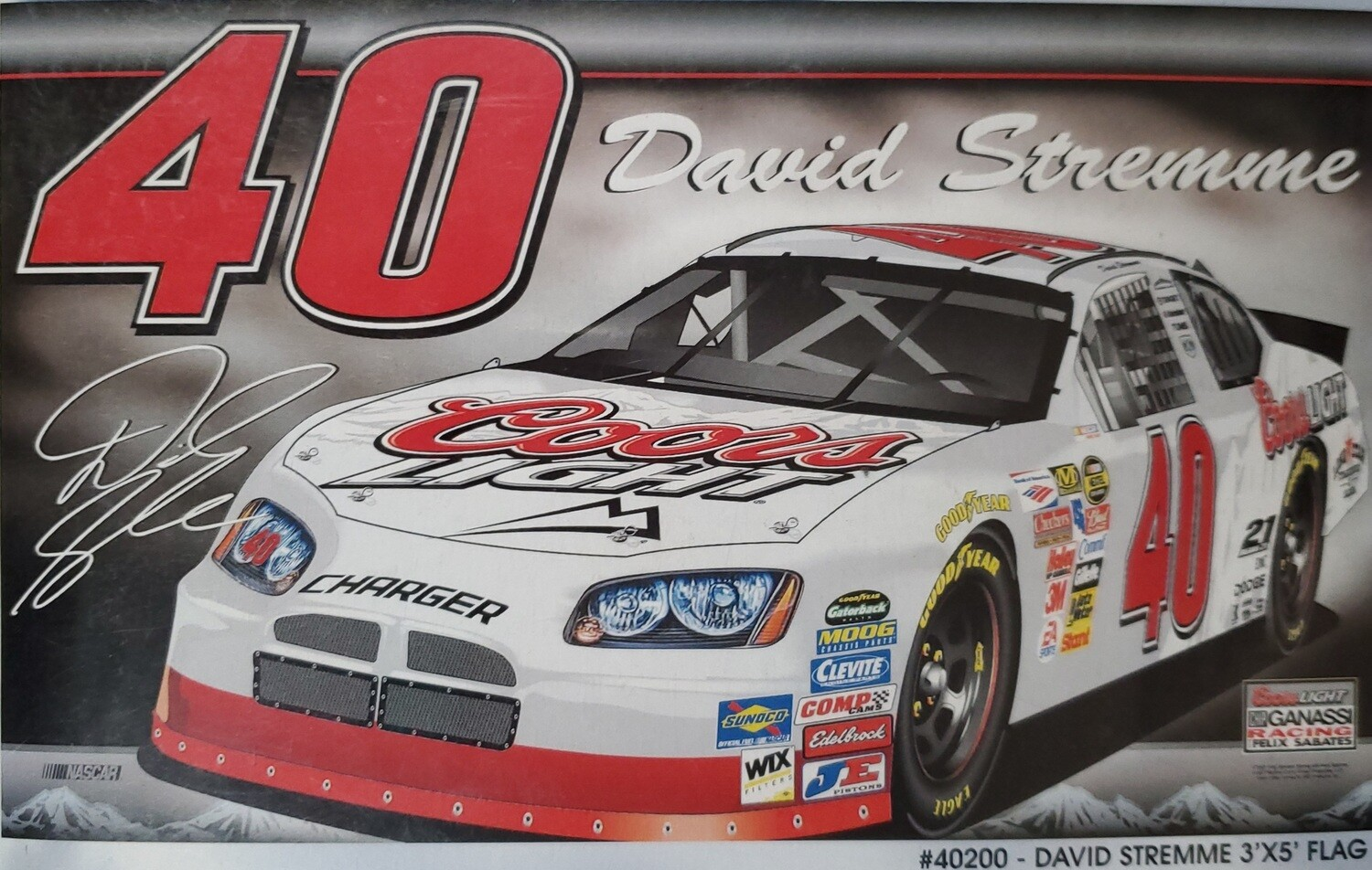 #40 David Stremme  3x5' 2 sided Nascar Flag