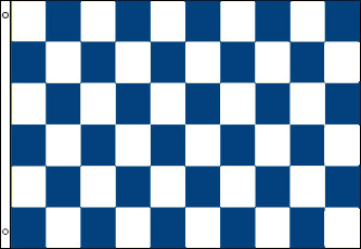 Checkered Flag - Blue and White