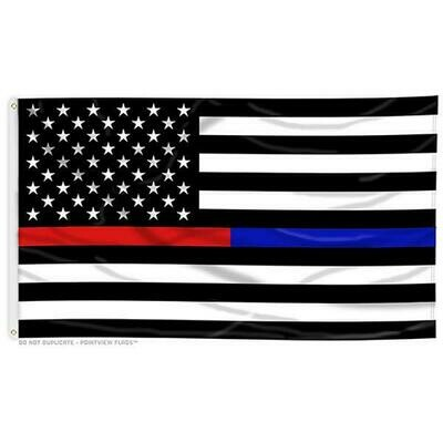 Thin Red/Blue line 3x5' Flag
