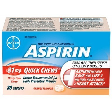 Aspirin 81mg Quick Chews Daily Low Dose Orange Flavour 30 Tablets