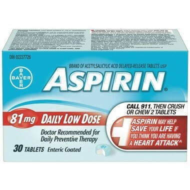 Aspirin 81mg Daily Low Dose 30 Tablets